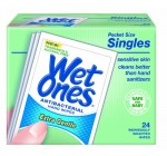 Wet Ones Sensitive Skin Hand and Face Wipes Singles, 24-Count (Pack of 5)