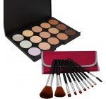 Pro 15 Colors Concealer Camouflage Palette Cosmetics Tool + 12 Piece Makeup Brush Set Reviews