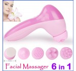 2pcs/lot Electronic 6 In1 Facial Pore Clean Machine Body Beauty Skin Face Cleaner Brush Massage