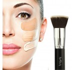 Best Foundation Brush Flat Top Kabuki Synthetic Face Brush Applicator Blender , Premium Quality – For Liquids, Creams, Contour, Powders, Mineral Makeup – Real Flawless Airbrush Application Blending Stippling Techniques – Synthetic Fiber Bristles – Cruelty Free, Vegan Friendly – For Beauty Professional Make Up Artist, Celebrities, Women, Girlfriend, Wife, Her, Mom, Teen Girls – Perfect Gift for Birthday, Holidays, Valentines, Thanksgiving, Christmas By New8Beauty