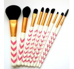 Makeup Brush Set – 9pc Pink Chevron Professional Makeup Brushes Set Plus Makeup Bag. No Shedding. Vegan Cosmetic Brushes Kit Featuring Powder, Highlight, Eyeshadow Blending, Concealer, & More Great for Sensitive Skin By Altair Beauty
