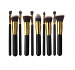 HOSL 10PCS Premium Synthetic Hair Makeup Brush Set Cosmetics Foundation Blending Blush Face Powder Brush Makeup Brush Kit (Golden and Black)