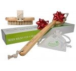 100% Natural Dry Body Brush for Dry Brushing Skin with Long Detachable Handle and Boar Bristles – Exfoliate, Reduce Cellulite, Improve Circulation & Drain Lymph – Great GIFT – FREE Bag & How-To e-book Reviews