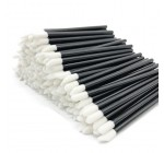 MAYMII 200 Pieces Disposable Lip Brushes Lipstick Gloss Wands Applicator Makeup Tool Kits, Black