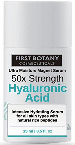 50X Strength Hyaluronic Acid Serum for Skin – The Ultra Moisture Magnet Serum by First Botany Cosmeceuticals with Highest Quality, best Anti-Aging Serum, Intense Professional Hydration & Moisturization, Non-greasy, Paraben-free, Vegan… One of the best Hyaluronic Acid products in the market