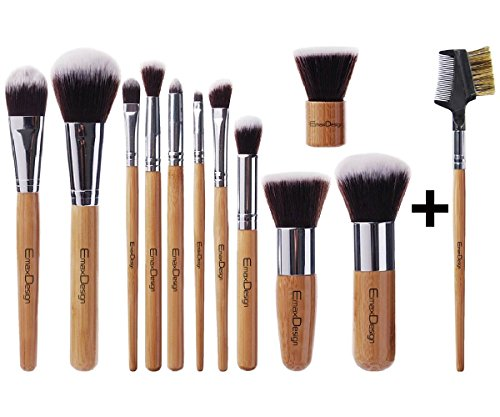 *New Arrival* EmaxDesign® Makeup Brush Set Professional 12 Pieces Bamboo Handle Premium Synthetic Kabuki Foundation Blending Blush Concealer Eye Face Liquid Powder Cream Cosmetics Brushes Kit With Bag Reviews
