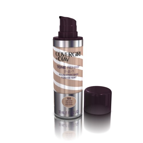 COVERGIRL and Olay Tonerehab 2-In-1 Foundation, Soft Honey 155, 1 Fluid Ounce