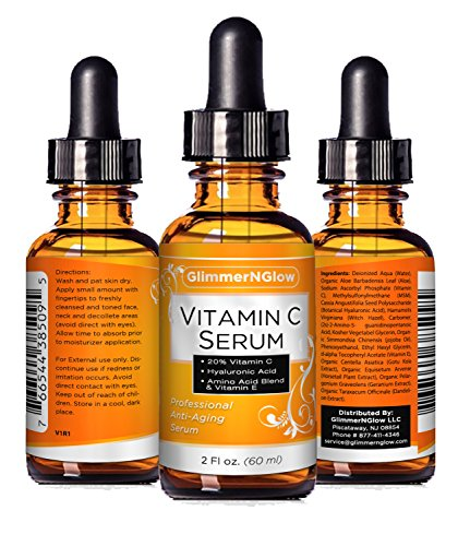 PROFESSIONAL GRADE 2oz VITAMIN C SERUM 20% With Hyaluronic Acid – Vitamin E, Witch Hazel, Vegetable Glycerin, Jojoba Oil & More – Anti Wrinkle, Anti Aging, Repairs Dark Circles & More – MADE IN USA Reviews