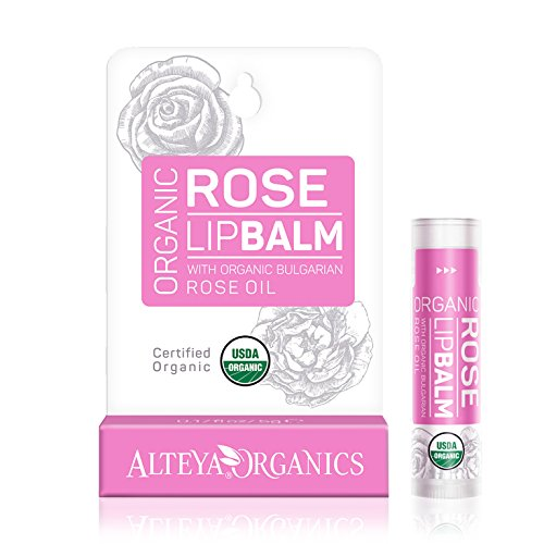 Organic Lip Balm – w/ Rose Oil – USDA certified organic