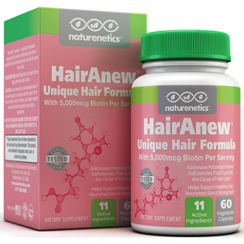 HairAnew (Unique Hair Growth Vitamins with Biotin) – Tested – For Hair, Skin & Nails – Women & Men – Addresses Vitamin Deficiencies That Could Be The Cause of Hair Loss / Lack of Regrowth * 60 VCaps Reviews