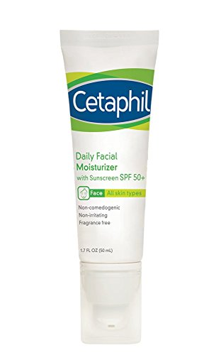 Cetaphil Daily Facial Moisturizer with Sunscreen, SPF 50+, 1.7 Fluid Ounce (Pack of 2)