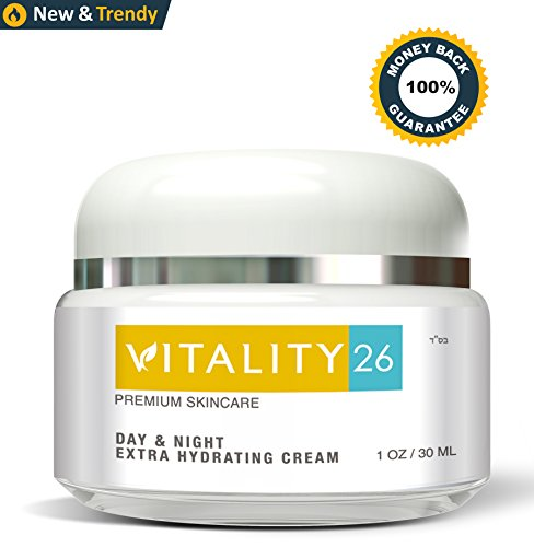 Vitality26 Anti Aging Face Cream With Pure Shea Butter and Avocado Oil – Day and Night Face Moisturizer – Safe For Sensitive Skin – Men and Women – 1 Ounce