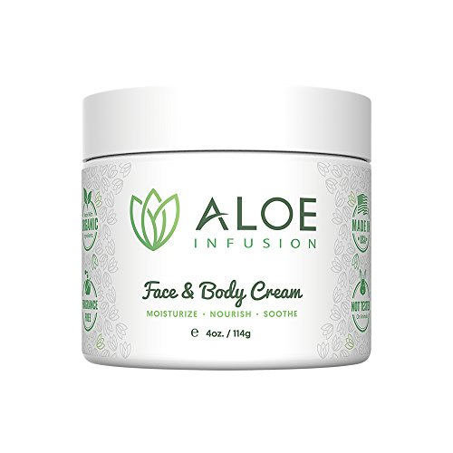 Aloe Infusion Body and Face Moisturizer – All Natural Eczema Cream for Itchy Dry Skin, Sensitive Skin, Acne and Psoriasis – Organic Aloe Vera, Shea Butter, Coenzyme Q10, Grape Seed Oil, Kukui Nut Oil