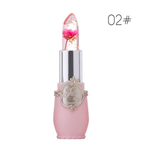 Witspace Makeup Lip Gloss with Flower Inside Crystal Jelly Lipstick Temperature Change Color Lip Balm (Color B)
