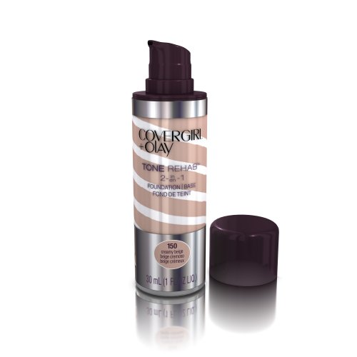 COVERGIRL and Olay Tonerehab 2-In-1 Foundation, Creamy Beige 150, 1 Fluid Ounce