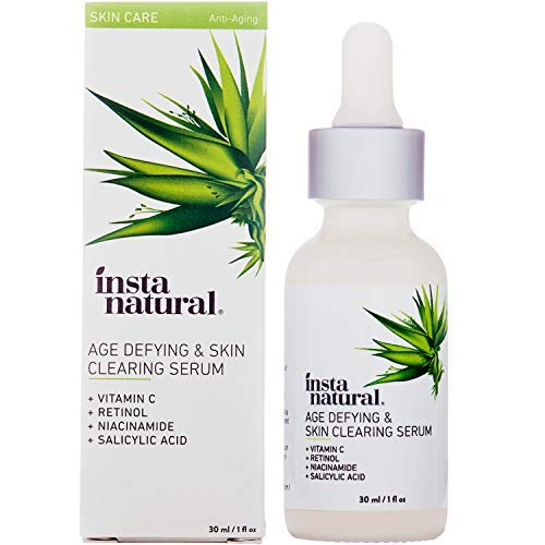 InstaNatural Vitamin C Anti Aging Skin Clearing Serum – Wrinkle, Cystic Acne, Fine Line, Pigmentation, Pore Minimizer & Dark Spot Corrector for Face – Retinol, Hyaluronic, & Salicylic Acid – 1oz