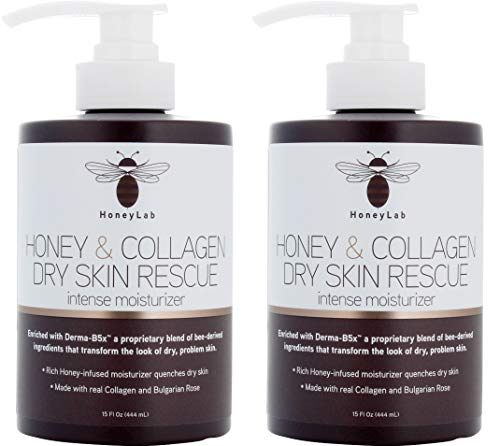 HoneyLab Dry Skin Rescue Cream for Face and Body. 15 FL Oz. Anti-aging Cream with Collagen and Honey and Bulgarian Rose for Wrinkles, Dry Skin, Sagging Skin. (Two – 15oz)